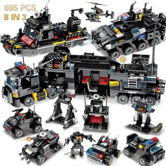 Like LEGO 695 pieces. 8 in 1 building set